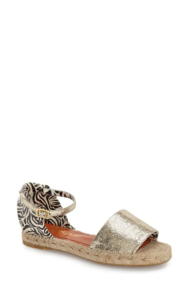 Charlotte Olympia Cracked Metallic Leather Espadrille Sandals In Metallic Silver Leather/ Linen