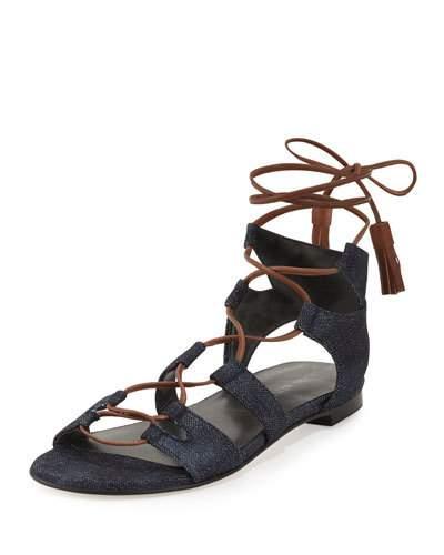 Stuart Weitzman Romanflat Suede Flat Gladiator Sandal, Amaretto, Saddle In Navy