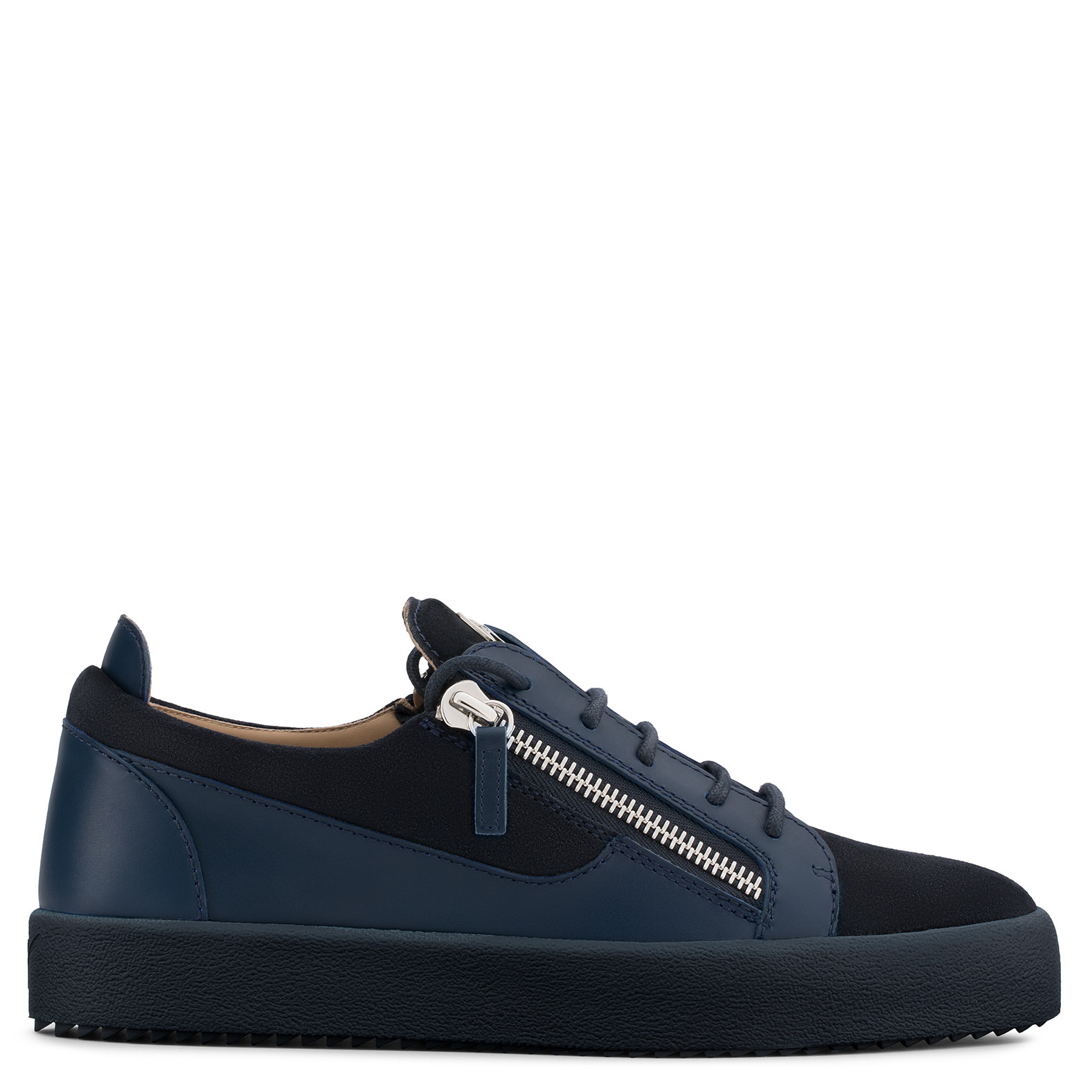 Giuseppe Zanotti - Suede And Leather Low-Top Sneaker Frankie In Blue