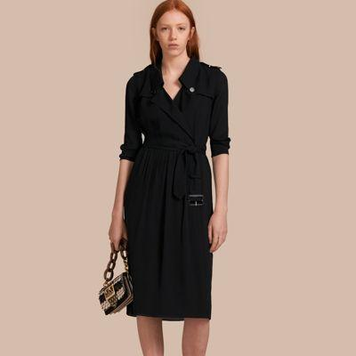 21986e9b09a Burberry Silk Wrap Trench Dress