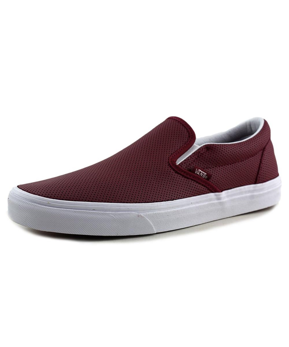 1e03472d1d Vans Classic Slip-On Men Round Toe Leather Burgundy Skate Shoe  In ...