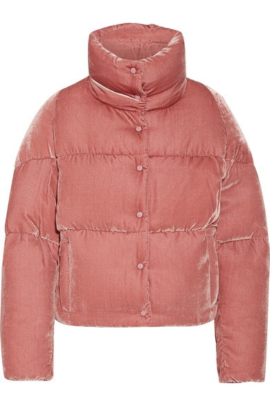 a87eff782f Moncler Cercis Quilted Velvet Down Jacket In Pink | ModeSens