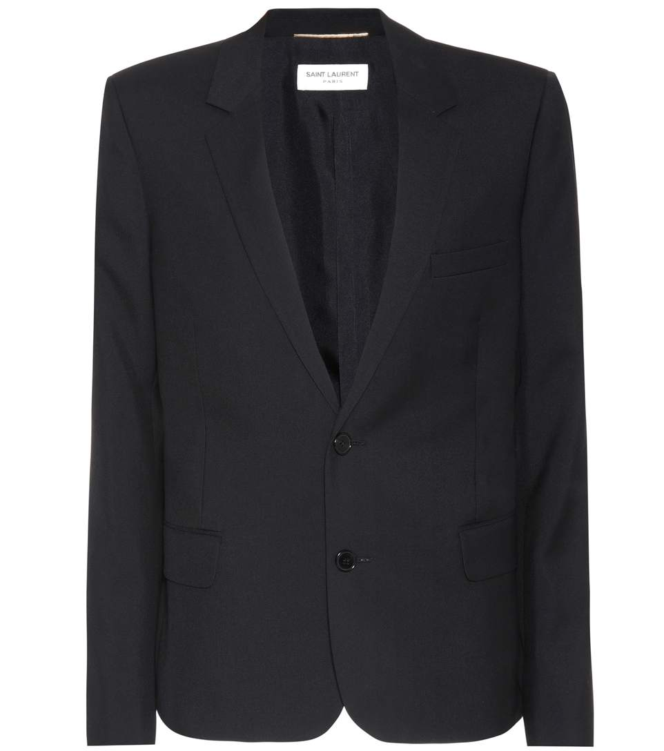 Saint Laurent Wool Gabardine Blazer In Black