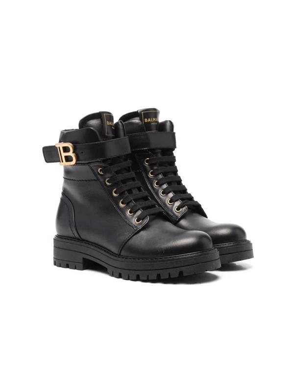 Balmain Teen Logo-plaque Combat Boots In Black