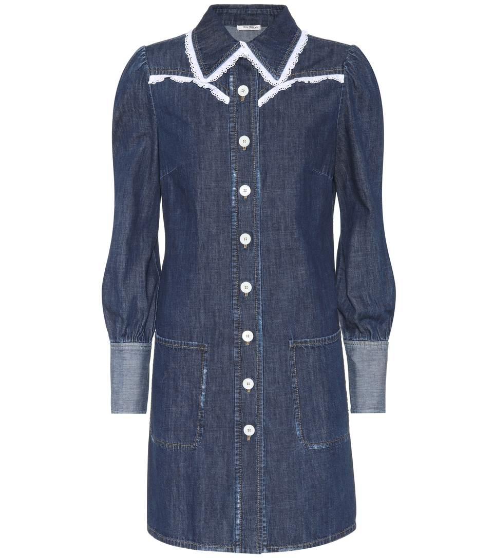 04721e71967 Miu Miu Broderie Anglaise-Trimmed Denim Mini Dress In Lluette