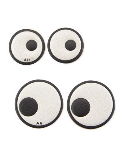 Anya Hindmarch Leather Eye Stickers For Handbag In Chalk