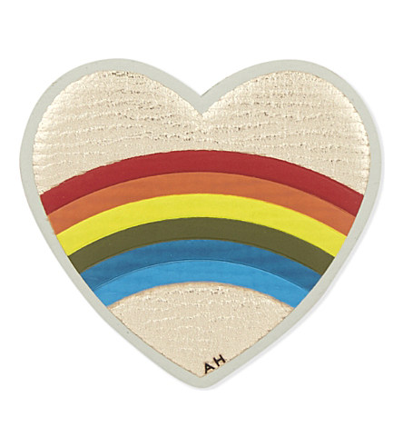 Anya Hindmarch Rainbow Heart Sticker For Handbag In Pale Gold Metallic