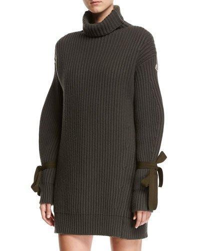 e5c572ec075 Moncler Turtleneck Ribbed Ribbon Sweater Dress In Olive
