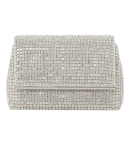 Dune Everlina Diamante Embellished Clutch In Silver-Diamantes