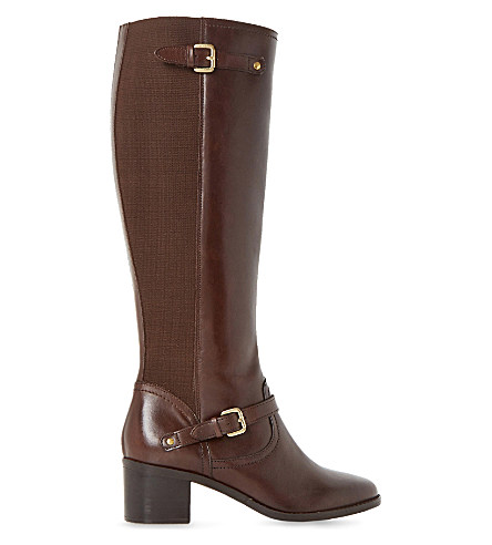 Dune Vivvi Leather Knee-high Boots In Brown-leather