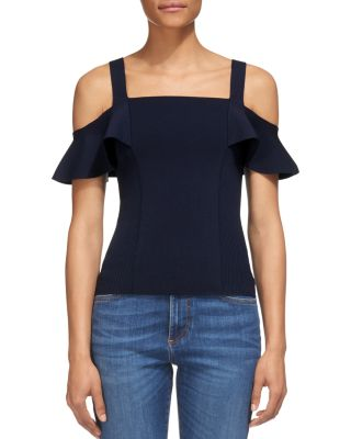 Whistles Cold-Shoulder Knit Top In Navy