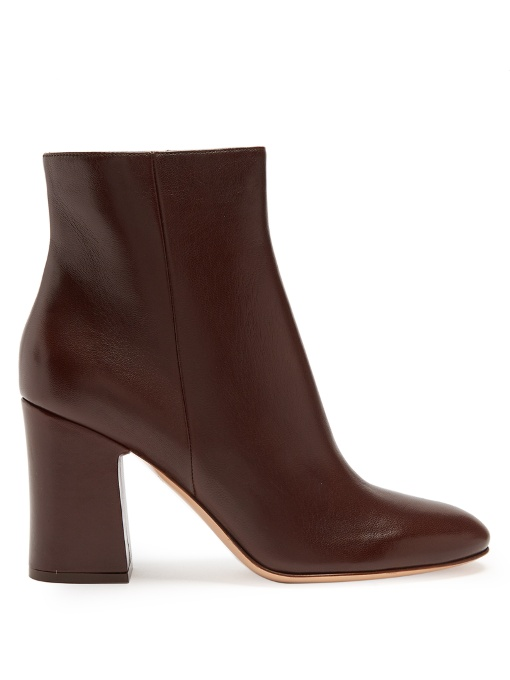 09baf292d194 Gianvito Rossi Block-Heel 85 Leather Ankle Boots In Dark Brown ...