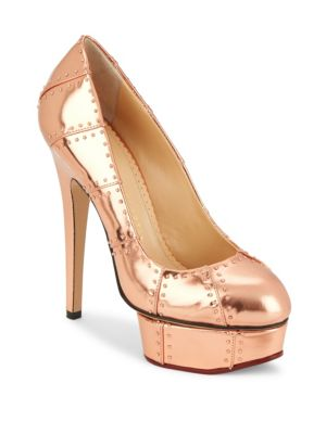 Charlotte Olympia Industrial Pris Platform Leather Pumps In Copper