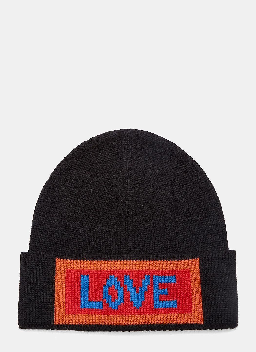 42d117dd09a35b Fendi Love Intarsia Knit Beanie Hat In Black | ModeSens