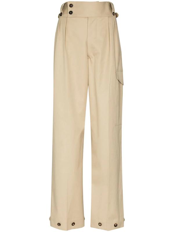 Maison Margiela Decorative-button Tailored Trousers In Neutrals