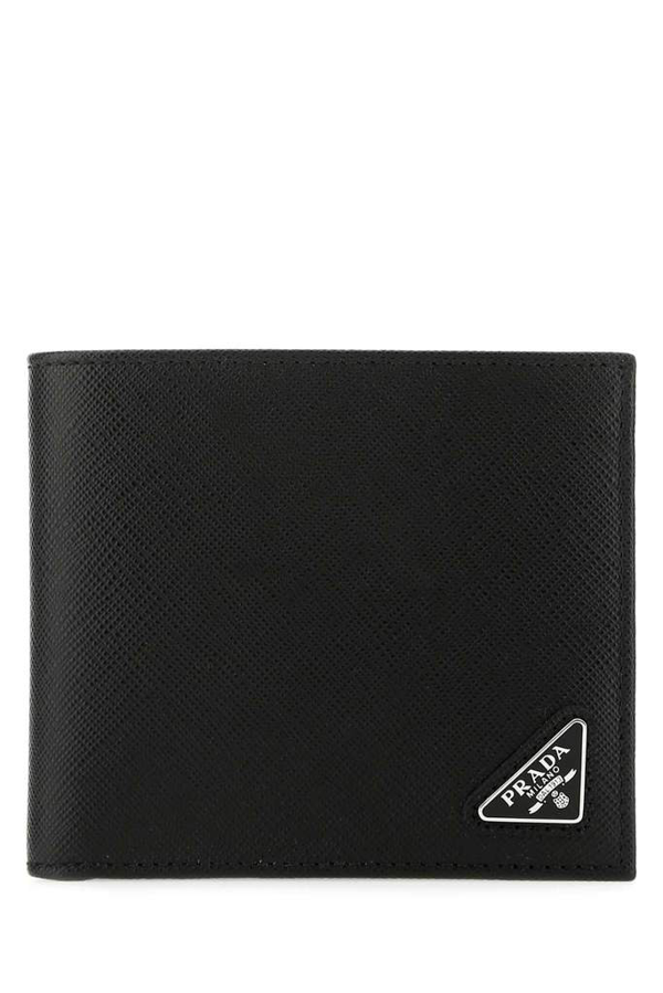 Prada Classic Logo Plaque Wallet In Black