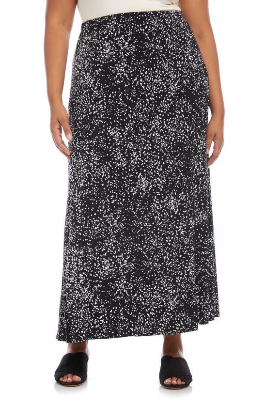 Karen Kane Flare Skirt In Black W/ Off White