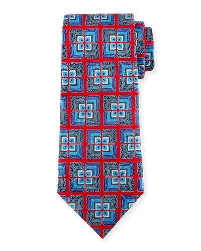 Ermenegildo Zegna Geometric Tiled Silk Tie In Red