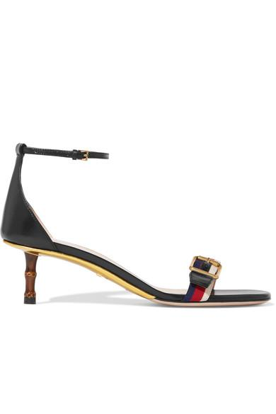7ed8e045266 Gucci Sylvie Grosgrain-Trimmed Leather Sandals In Black