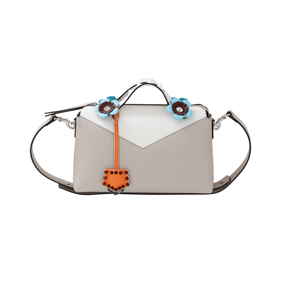 Fendi By The Way Floral-Detail Leather Boston Bag In Neutrals