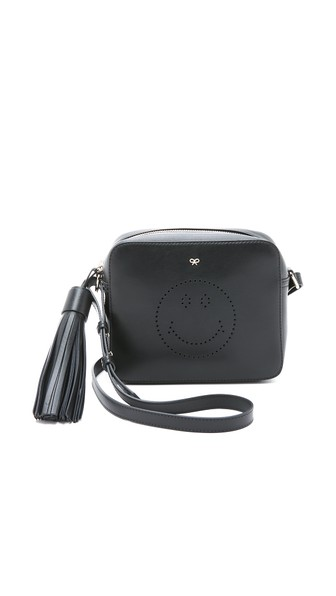 Anya Hindmarch Smiley Perforated Leather Crossbody Bag In Black
