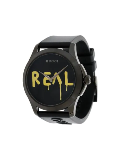 Gucci Watch G-Timeless Watch Case 38 Mm Brushed Pvd Real In Black & Yellow
