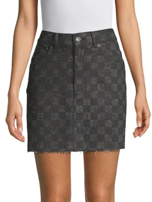 Marc Jacobs High-Waisted Cotton Mini Skirt In Grey