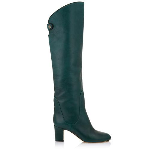 10debafc2c4 Jimmy Choo Minerva 65 Bottle Green Smooth Leather Pull On Boots ...