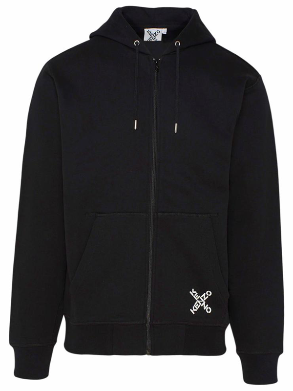Kenzo Hooded Sweatshirt With Zip In Black