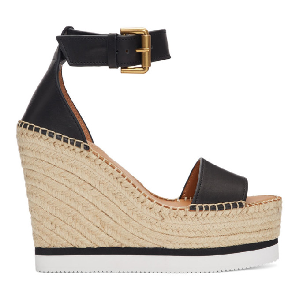 f1d77f89851 See By ChloÉ Glyn Leather Espadrille Platform Wedge Ankle Strap Sandals In  Black