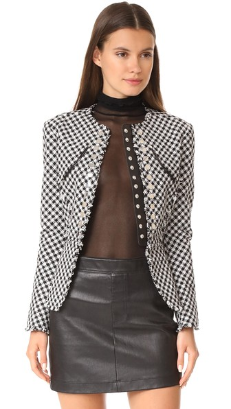5ef40d3ceaa2b7 Alexander Wang Leather-Trimmed Studded Cotton-Blend Tweed Peplum Jacket In  Black And White