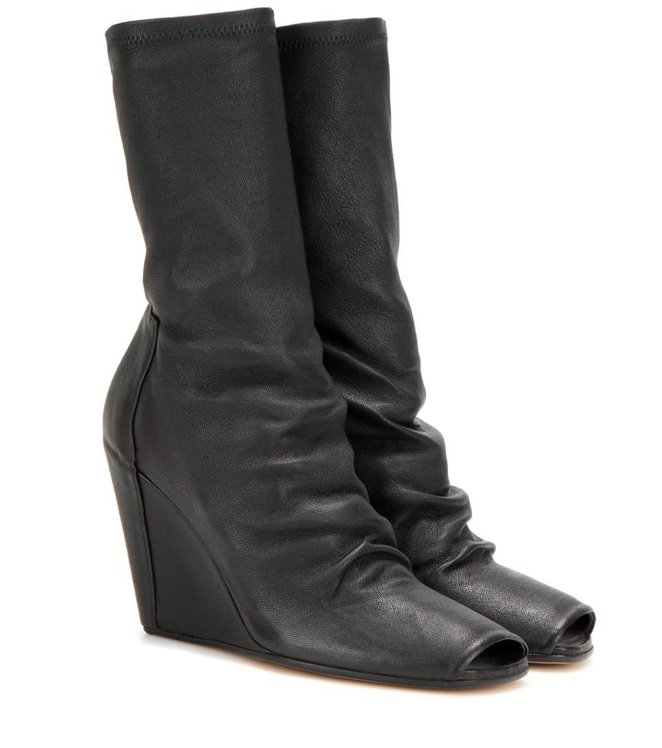 Rick Owens Leather Boots With Open Toe