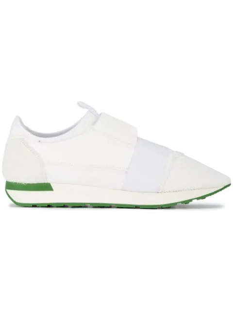 Balenciaga Men's Race Runner Mesh & Leather Sneakers, White