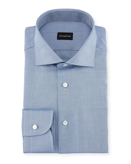 Ermenegildo Zegna Cotton Pique Dress Shirt In Navy