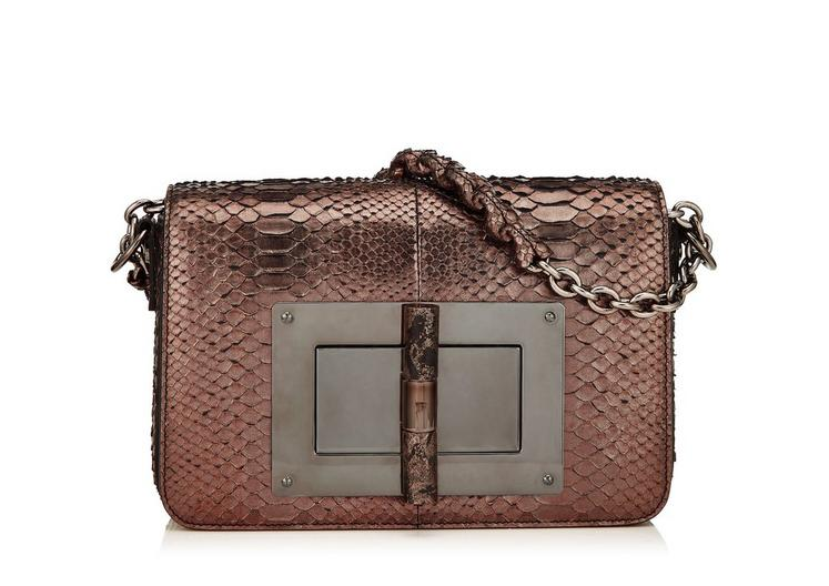 a7213038ab94 Tom Ford Medium Metallic Python Chain Natalia With Stone Lock In  Rust+Redtigereye