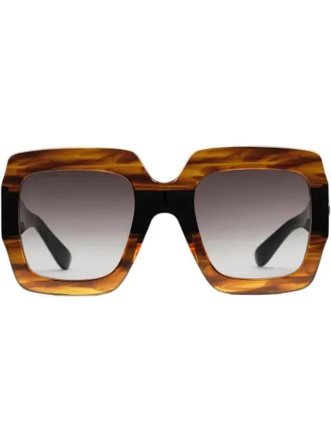 Gucci Square-Frame Acetate Sunglasses In 2222 Tortoiseshell