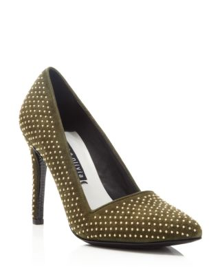 Alice And Olivia Dina Studded Suede Point Toe Pumps In Moss