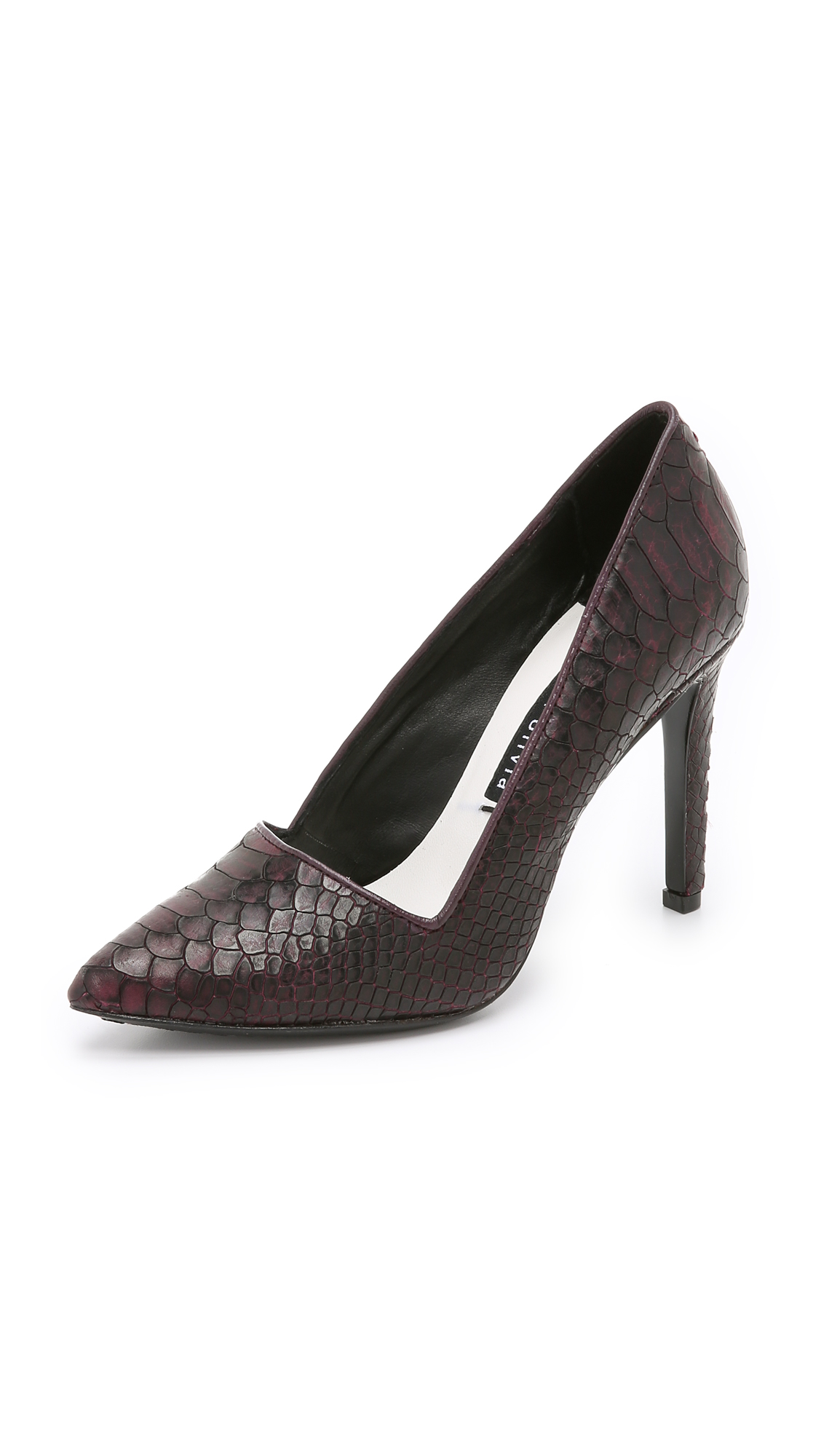 Alice And Olivia Dina Croc-embossed Leather Pumps In Bordeaux