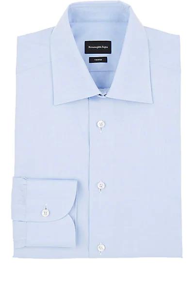 Ermenegildo Zegna Trofeo Pencil Stripe Cotton Dress Shirt In Lt. Blue