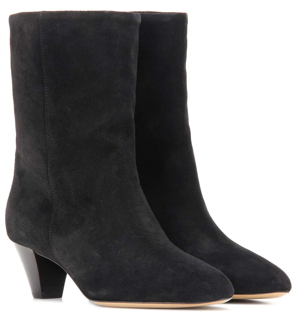 Isabel Marant Dyna Suede Ankle Boots In Black
