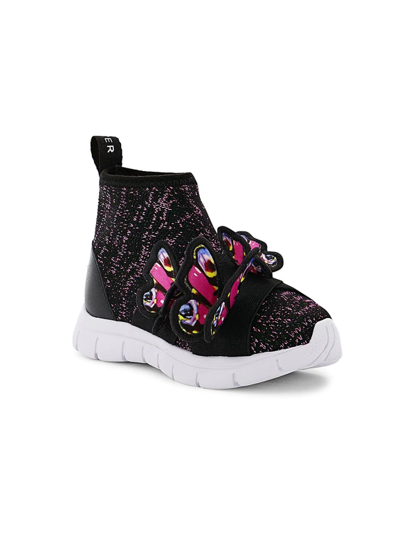 Sophia Webster Girl's Riva Mid-top Knit Sneakers W/ 3d Butterflies, Baby/toddler/kids In Black