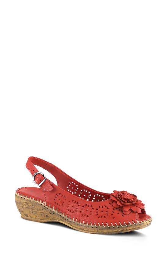 Spring Step Belford Slingback Sandal In Red Leather