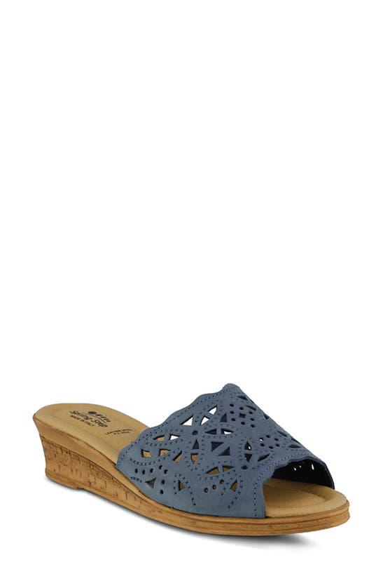 Spring Step Estella Sandal In Blue Nubuck Leather