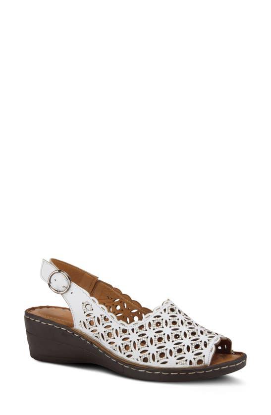 Spring Step Belizana Wedge Sandal In White Leather