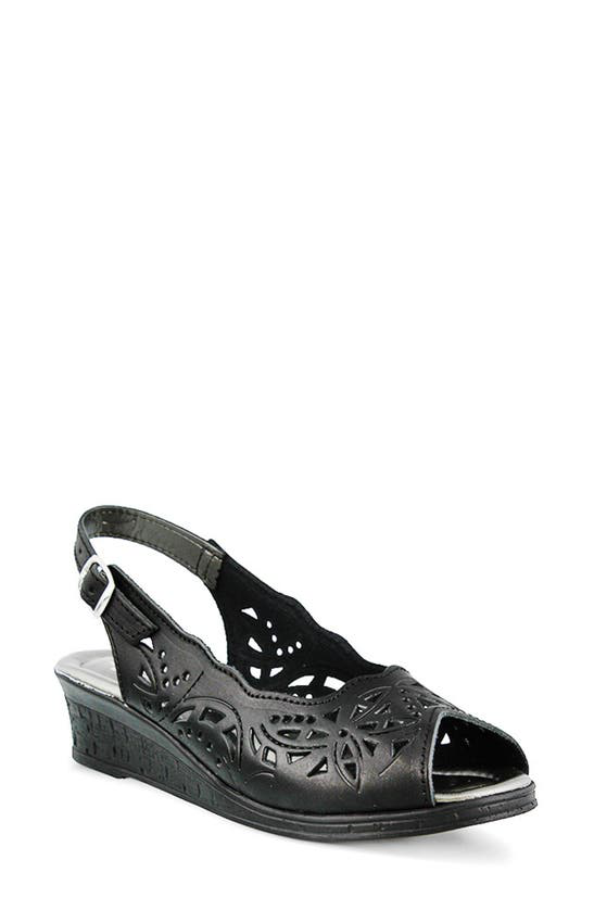 Spring Step Orella Slingback Sandal In Black/ Black Leather