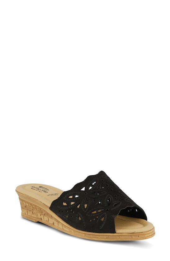 Spring Step Estella Sandal In Black Nubuck Leather