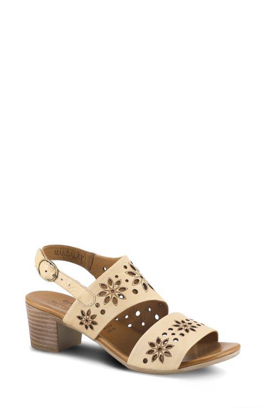 Spring Step Mandalay Sandal In Beige Leather
