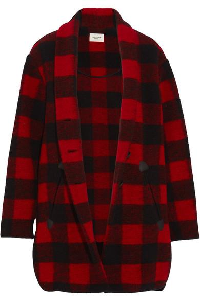 f851880a05e379 Etoile Isabel Marant Isabel Marant Etoile Gabrie Blanket Coat In  Red,Checkered & Plaid In