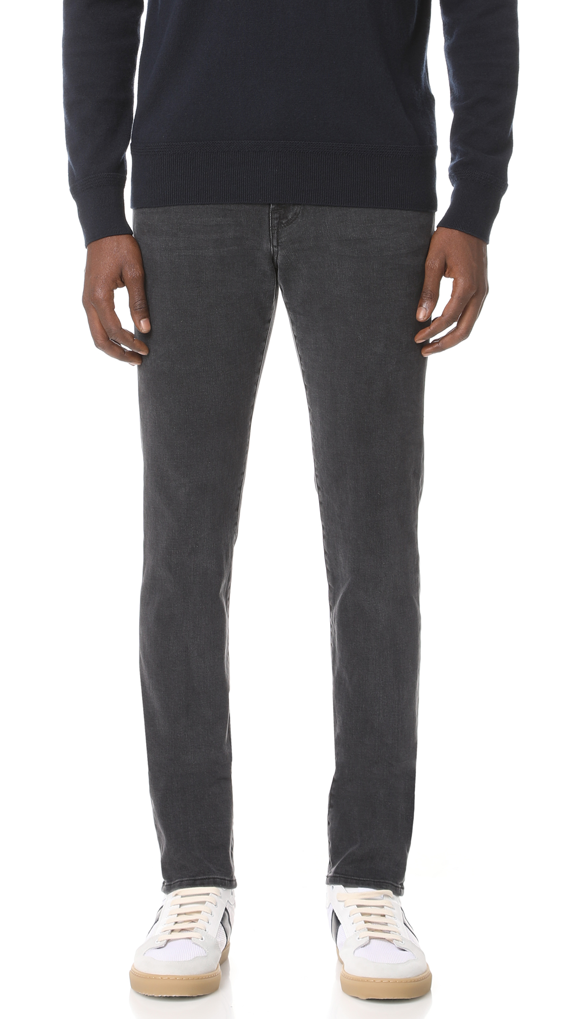 Frame Grey 'l'homme' Skinny Jeans In Charcoal-grey