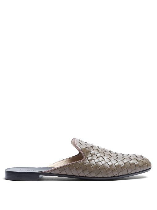 f1cc11bc599 Bottega Veneta Steel New Intrecciato Nappa Fiandra Slipper In Grey ...